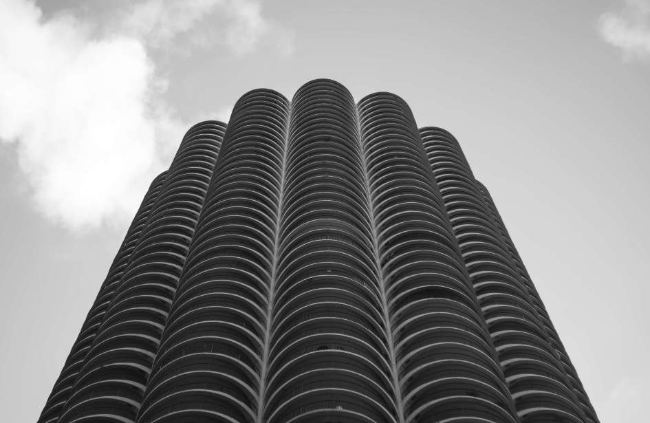 Marina Towers Shot from Street Looking Up