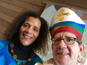 Valerie Tutson and Bishop Brian Prior on Tuesday, March 1 at Breck School
