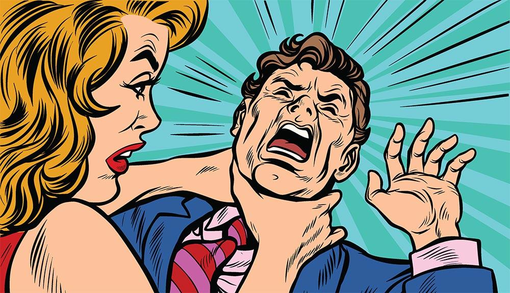 Angry wife choking husband