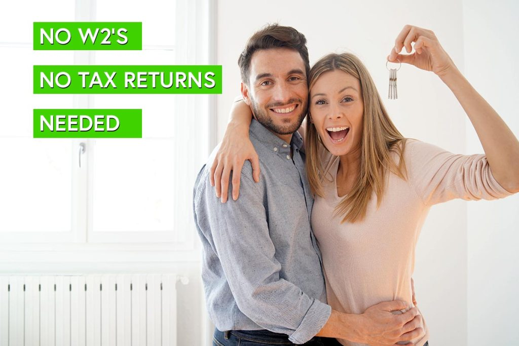 An excited couple that used a no income verification mortgage to secure a home loan.