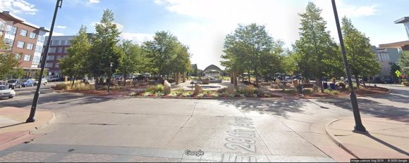 Street view of Founders' Green in Stapleton, Denver, CO.