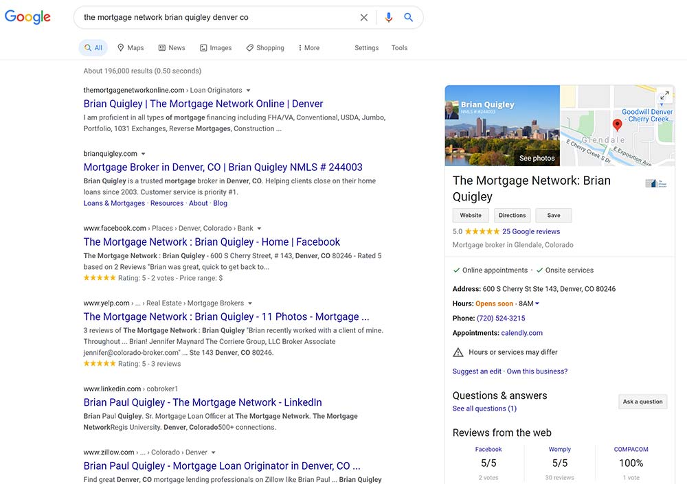 A screenshot of the results of a google search for mortgage Broker Brian Quigley in Denver, CO