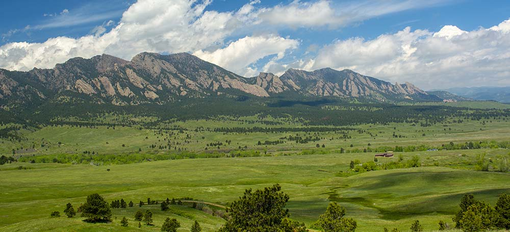 View of the Flatirons from Golden, Colorado.