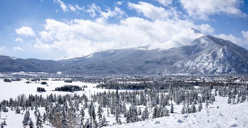 Winter landscape overlooking Lake Dillon towards Breckenridge, Colorado.