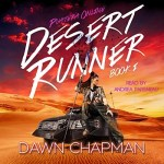 Desert Runner Audiobook Cover (a girl with a staff sitting on an classic car in the desert)