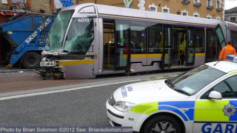 Luas tram damaged in Dublin crash.