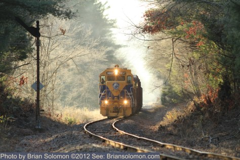 Semaphore with train in Monson, Massachusetts.