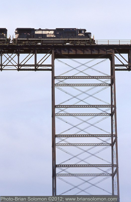 Tower supported trestle at Letchworth Gorge.