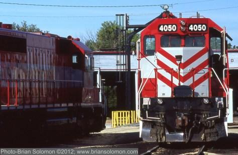 Locomotives at rest.