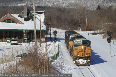 CSX light engines roll through CP83 at Palmer, Massachusetts on February 10, 2013.