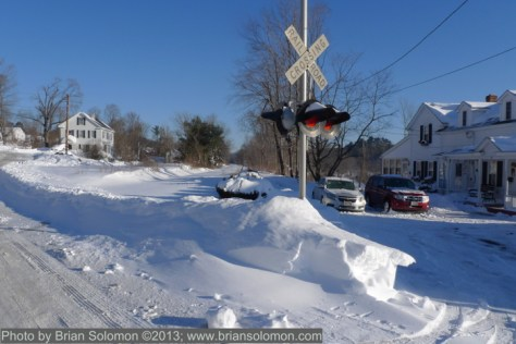 Railway tracks covered in snow, Monson, Massachusetts