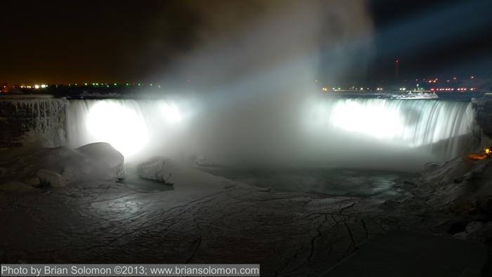 Niagara Falls at night in winter.