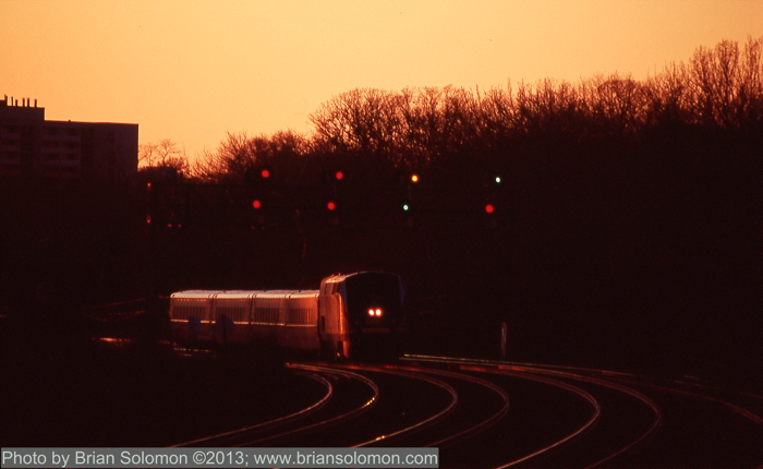VIA Rail at sunset.