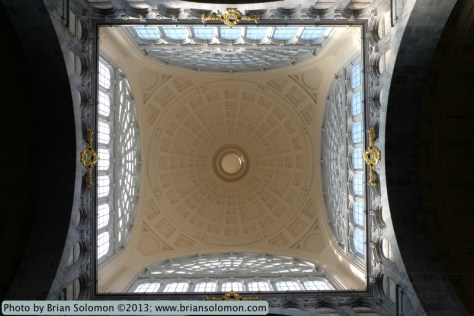 Looking straight up at the domed roof in Antwerpen Centraal, Belgium on March 22, 2013. Lumix LX-3.