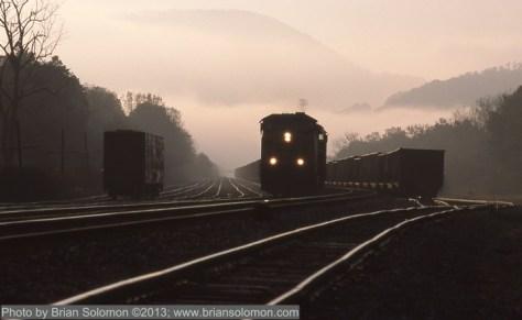 Train with fog, West Virginia.