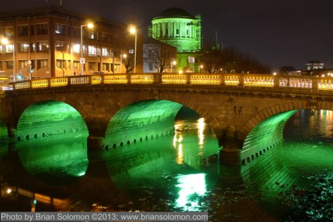 Dublin in green light