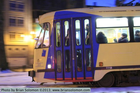A Brussels PCC tram glides along at dusk on March 24, 2013. Exposed with a Canon EOS 7D fitted with 28-135mm, set at ISO 5000 f3.5 1/30 second.