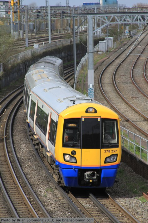 A London Overground train at Willesden Junction on April 19, 2013. Compare this view with the image of the London Tube train presented in an earlier post.