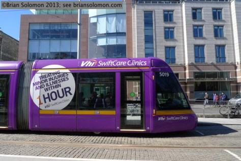 LUAS Alstom Citadis Tram seen at St Stephens Green, Dublin.
