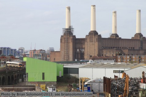 A Southeast Trains EMU from Waterloo Station passes the Battersea Park Power Station on April 17, 2013. Exposed with a Canon EOS 7D fitted with 28-135mm lens.