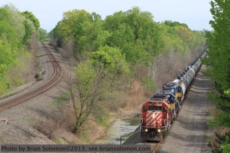 CP Rail SD40-2 leads an empty ethanol train.