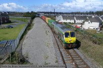 Ballina to Dublin IWT approaches the station at Clara on Friday April 26, 2013. That's 234, again. Lumix LX3 photo.