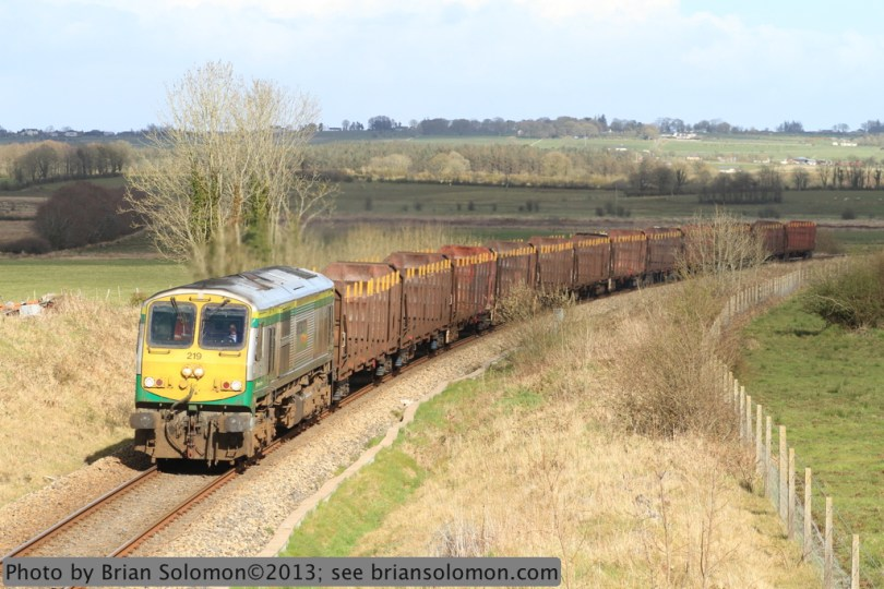 Irish Rail empty timber train.