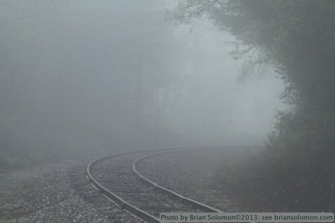 Morning of May 10, 2013 finds heavy fog at Hospital Road in Monson, Massachusetts. This view looking south on New England Central's former Central Vermont Railway. Canon EOS 7D.