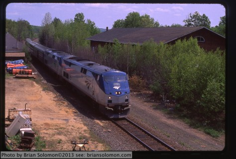 Amtrak 449 at West Brookfield, Pentax ZX-M with f1.4 50mm lens; Velvia 50 raw 'uncorrected' scan.