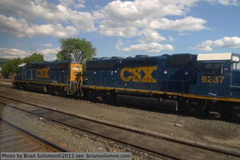 CSX GP40-2s at North Adams Junction in Pittsfield. It was here that Bob Buck photographed a Mohawk in the snow back in 1947. Lumix LX-3 photo.