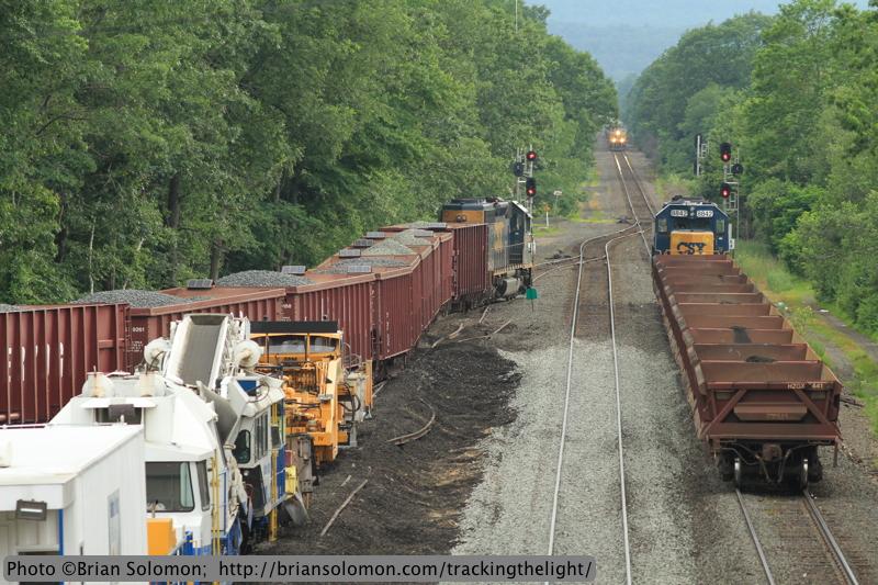 Three trains at East Brookfield, Massachusetts.