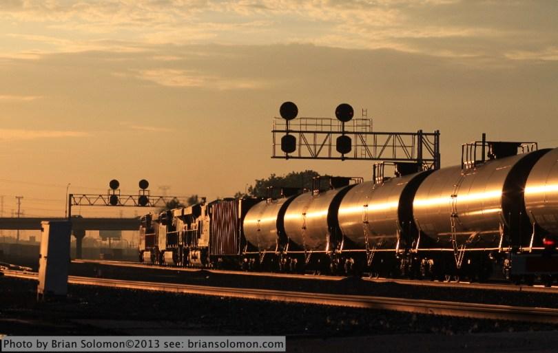 Oil train catches the glint.