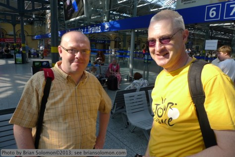 Tracking the Light followers, Noel Enright and Mark Healy at Heuston Station, Dublin on 20 July 2013.
