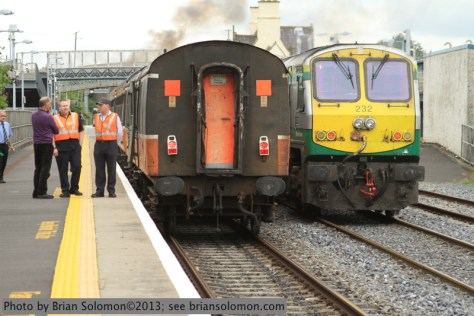 Cork to Dublin Mark4 races uproad at Kildare with 201 class 232 pushing at the back  on August 25, 2013. Canon EOS 7D photo.