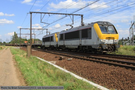 Electric freight train, Belgium.