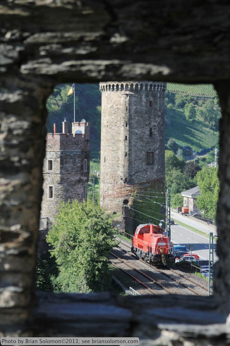 Locomotive with castle walls.