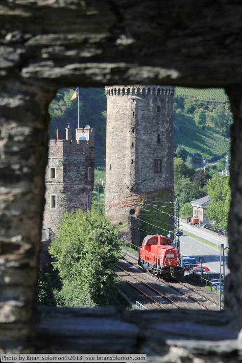Locomotive with castle walls.