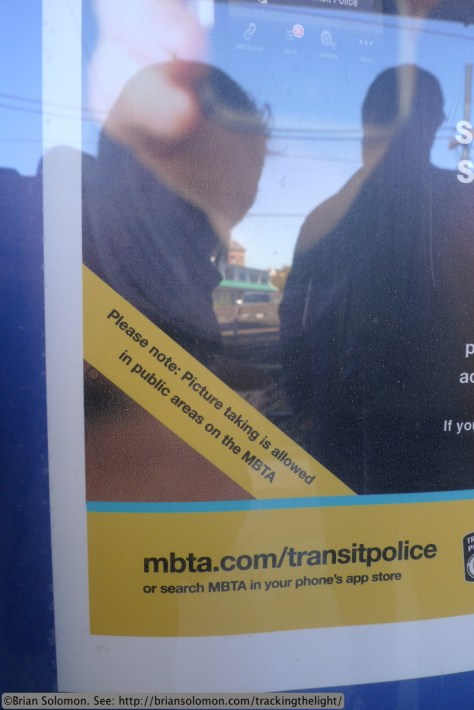 MBTA allows and encourages photography as this sign on the Mattapan-Ashmont Line reveals. Lumix LX3 photo.