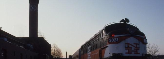 Metro-North FL9 at Waterbury, Connecticut, November 16, 1992.