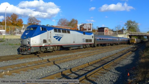 Amtrak's Vermonters meet in Palmer, Massachusetts, October 17, 2013. Lumix LX3 with 16:9 aspect ratio.