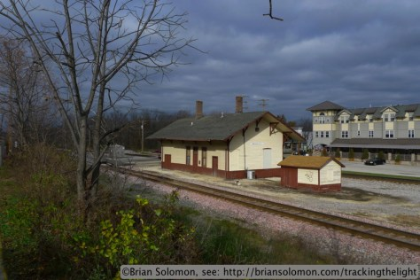 A wink of sun illuminates the former Milwaukee Road station at Brookfield, Wisconsin. Lumix LX3 photo.