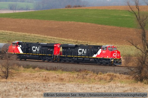 New ES44ACs lead a freight near Theresa, Wisconsin on November 8, 2013. Canon EOS 7D with 200mm lens.