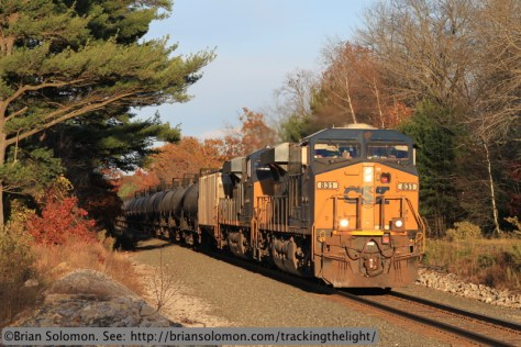 An empty CSX ethanol extra rolls west on the former Boston & Albany at Brookfield, Massachusetts on the evening of October 25, 2013. Exposed with a Canon EOS 7D with f2.0 100mm lens.