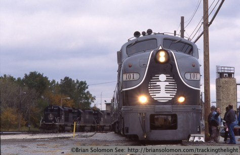 Illinois Central's executive train on display at Woodcrest Shops on October 8 1995. Exposed on Fujichrome Provia 100 slide film. Notice that the Fuji film did a better job than Kodachrome  rendering detail in the overcast sky.