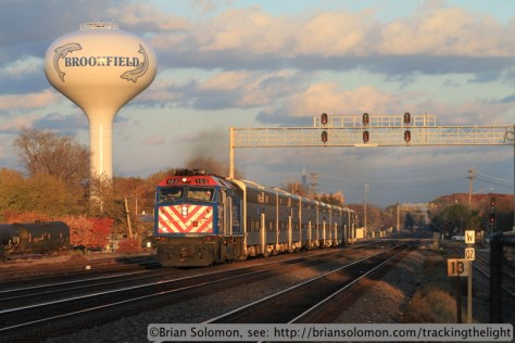 An outbound Metra scoot accelerates toward Congress Park, Illinois on November 9, 2013. Canon EOS 7D with 100mm lens.