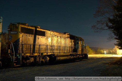 Lumix LX-3 photograph: exposed for 15 seconds at f2.8 at ISO 80. The best part of this image is the tree shadow on the locomotive side.