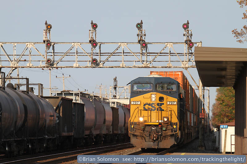 CSX stack train with signals