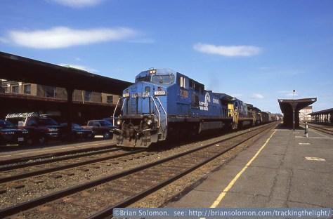Westward CSX freight rolls through Springfield Station on April 5, 2004.
