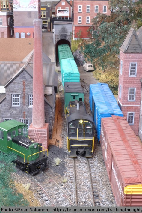 Hamden Terminal Railroad blends elements from a variety of New England railroads. Equipment includes Mass-Central's Whitcomb 44-ton diesel as well as a good variety of Penn-Central, Conrail and Boston & Maine equipment.