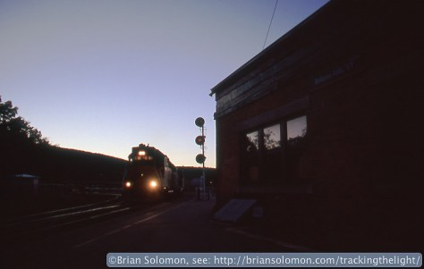 Guilford's WJED eases past the Bellows Falls passenger station. Exposed using a Nikon N90S with Fujichrome.